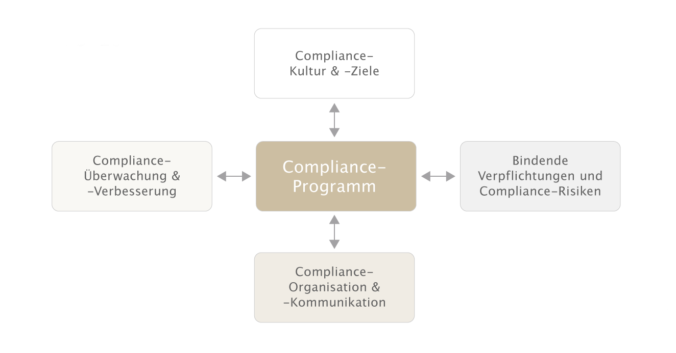 Grafik Kernelemente eines Compliance Management Systems