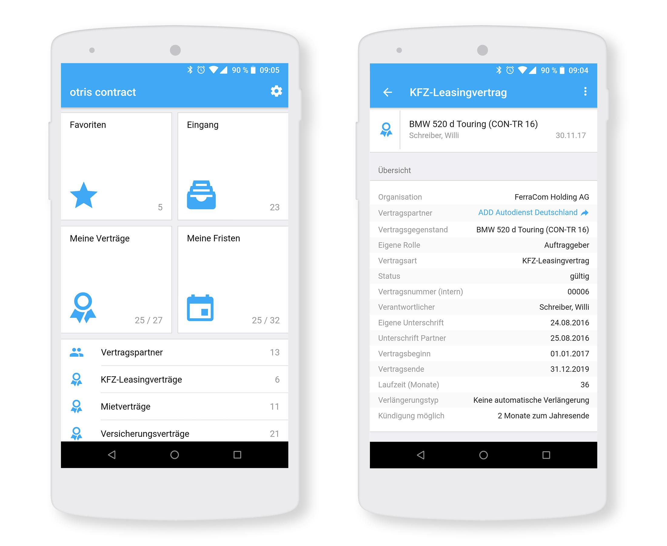 Screen Vertragsmanagement App otris contract