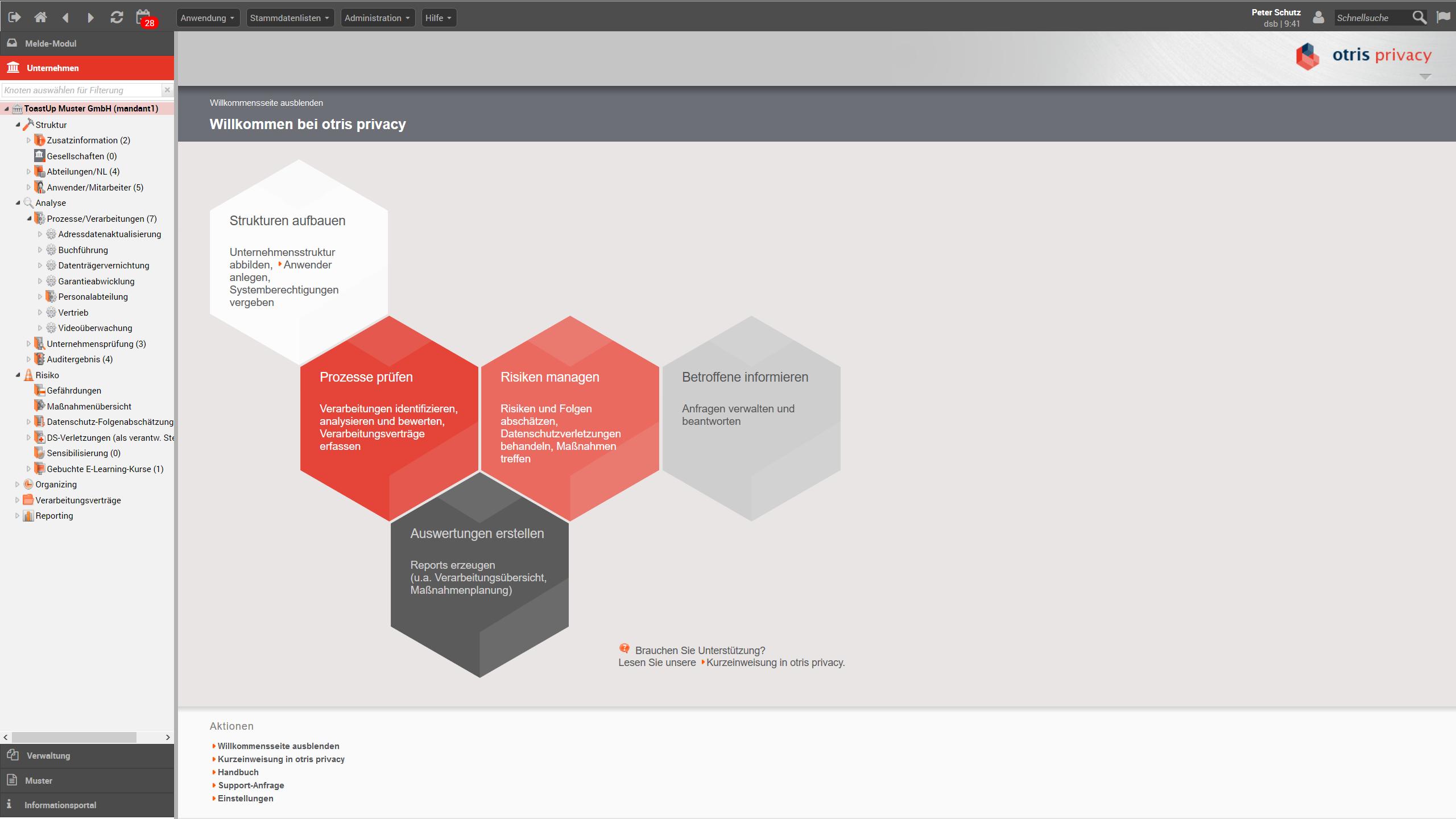 Startbildschirm - Datenschutzmanagement-Software otris privacy