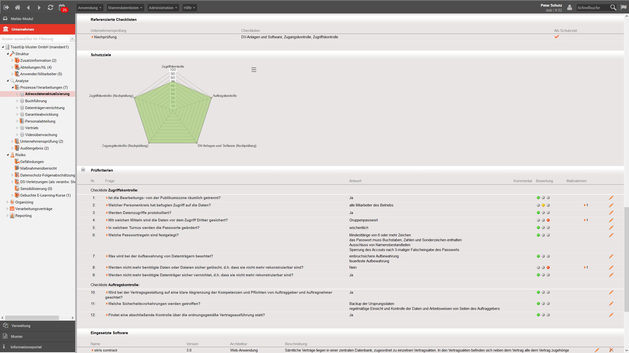 Netzdiagramm Beispiel - Datenschutzmanagement-Software otris privacy